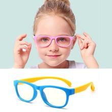 Мальчик и Девочка анти-синий квадратный ребенок Оптические очки Силиконовые ребенок плоское зеркало модная рамка для очков очки
