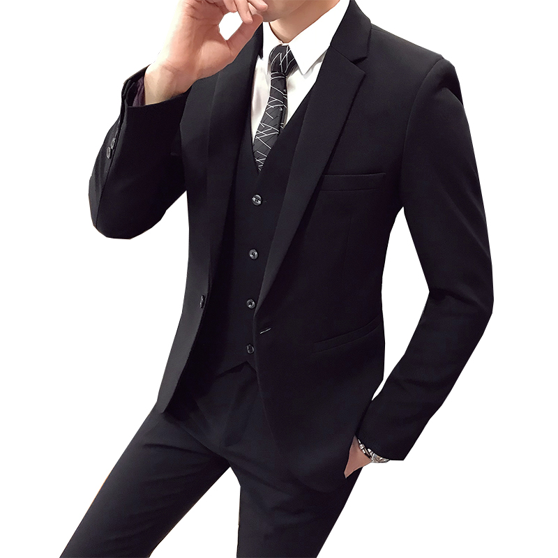Suits-Sets Coat Jacket Pant Blazers Wedding-Dress Three-Piece Business One-Button Slim