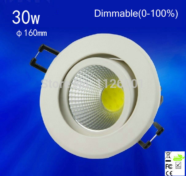 2015 Rushed 1pcs/lot 30w,dimmable (0-100%)cob Led Down Light ,epistar Chip,,advantage Product,high Quality Light.3years Warranty 2015 rushed led spot free shipping dimmable 0 100%1pcs lot cob led down light epistar ac85 265v input voltage epistar light