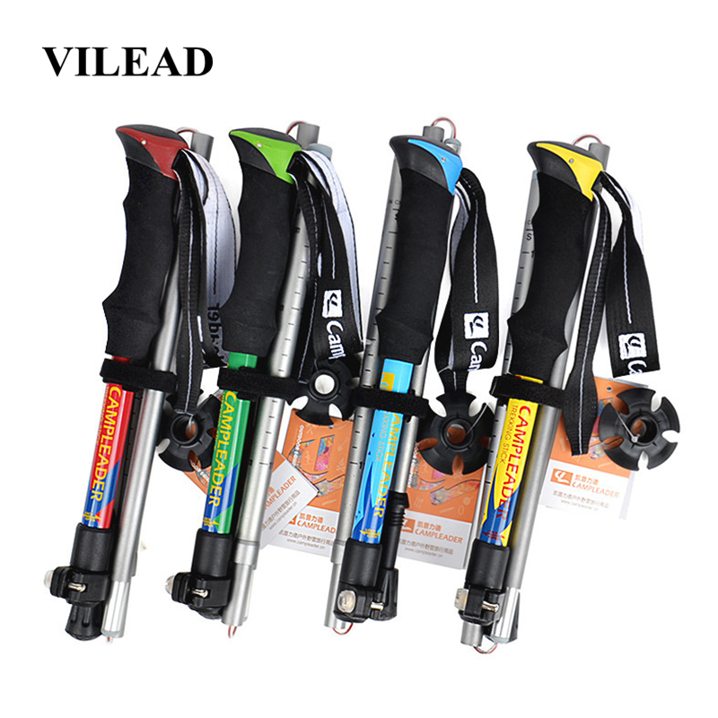 VILEAD Stable 36 125cm Walking Sticks 7075 Aluminum Hiking Trekking Poles Ultralight Camping Folding Nordic Telescopic Crutches-in Walking Sticks from Sports & Entertainment