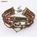 Vintage Mix Charm Handcuff Music Leather Bracelet Arrow Women Men's Wristbands Jewelry