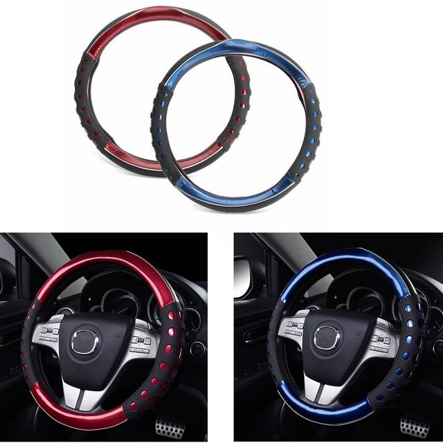 PU Leather Steering Covers 38cm Diameter Car Non-slip Handle Steering Wheel Cover Blue Red Auto Cars Accessories