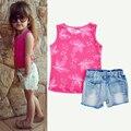 Estilo verão Bebê Conjunto de Roupas Meninas Rosa Oco Vest + Denim Shorts Set Moda infantil Roupas Meninas Roupas conjunto menina