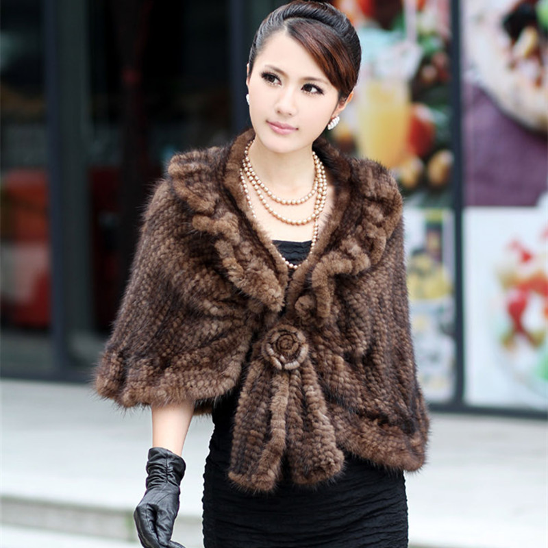 (TopFurMall)   Winter Handmade Genuine Knitting Mink Fur Shawls Female Slim Poncho Women Fur Pashmina Capes 0053
