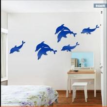 цена на Dolphin Warm Cartoon Children's Room kindergarten Creative mirror 3d Acrylic Wall Sticker TV sofa Background Wall Decoration