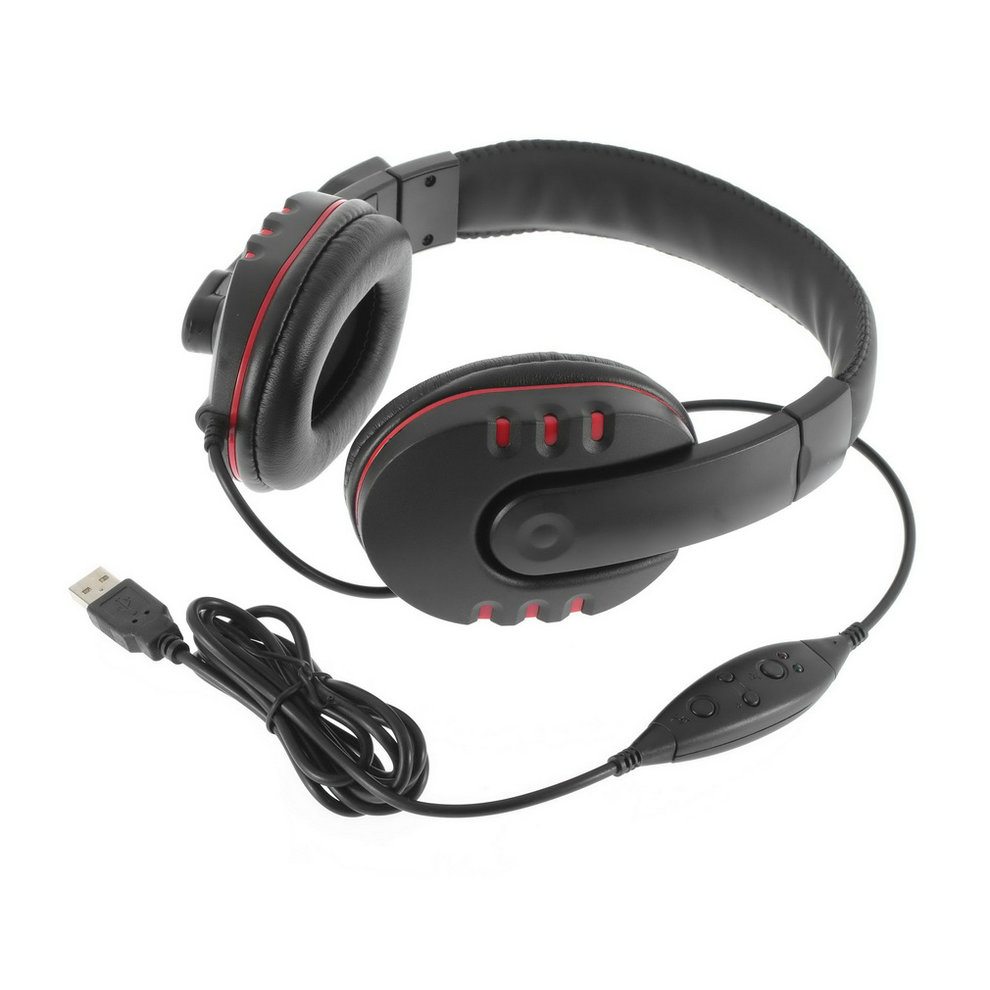 цены  2015 Hot 1pc Leather USB Wired Stereo Micphone Headphone Mic Headset for Sony for PS3 PC Game est