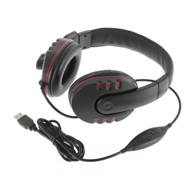2015 de cuero caliente 1 unid usb micphone estéreo con cable de auriculares micrófono auricular para sony para ps3 pc juego est