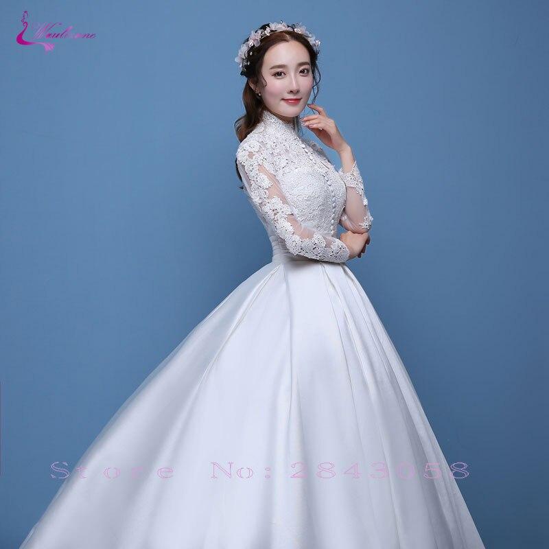 Waulizane Shiny Lustrous Satin Ball Gown Wedding Dress Appliques ...