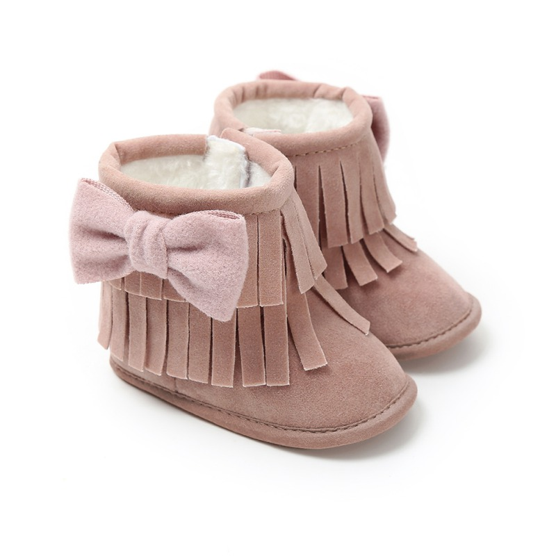 Bebe Moccasin Boots Newborn Baby Girl Boy Kids Solid Fringe Butterfly Knot Shoes Infant Toddler Soft Soled Anti-slip Boots 0-18M