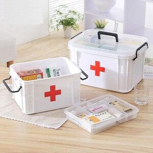 Домашняя медицина коробка для хранения многоцелевой медицинский ящик для первой помощи большая емкость портативная пластиковая коробка д...