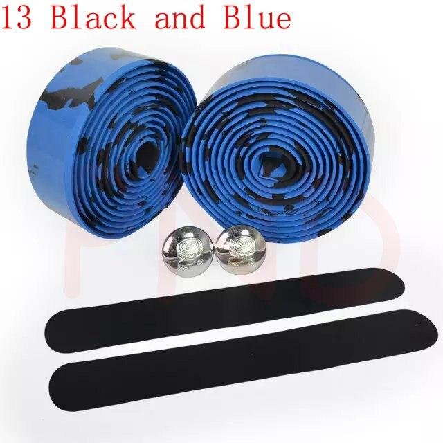Лента на руль для шоссейного велосипеда камуфляжная велосипедная ручка на ремне пробковая обмотка с заглушками 17 цветов FZE001 - Цвет: 13 Black and Blue