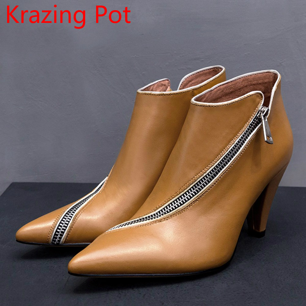все цены на New Arrival Recommend Genuine Leather Fashion Winter Boots Zipper Strange Style High Heels Office Lady Women Ankle Boots L6f2