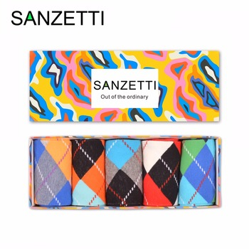 SANZETTI  5 pairs/lot Gift Box Funny Men's Colorful Argyle Combed Cotton Socks Novelty Crew Dress Socks For Male US Size 7.5-12