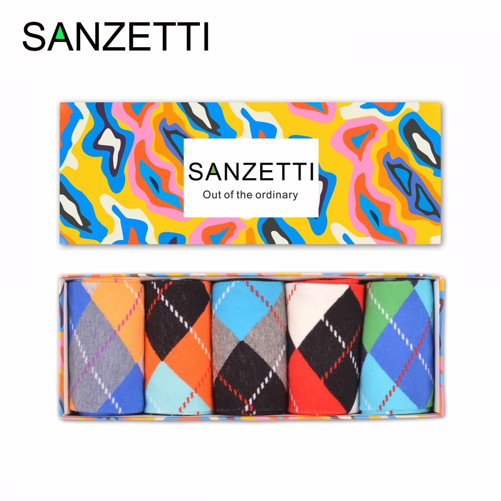 SANZETTI  5 pairs/lot Gift Box Funny Mens Colorful Argyle Combed Cotton Socks Novelty Crew Dress Socks For Male US Size 7.5-12