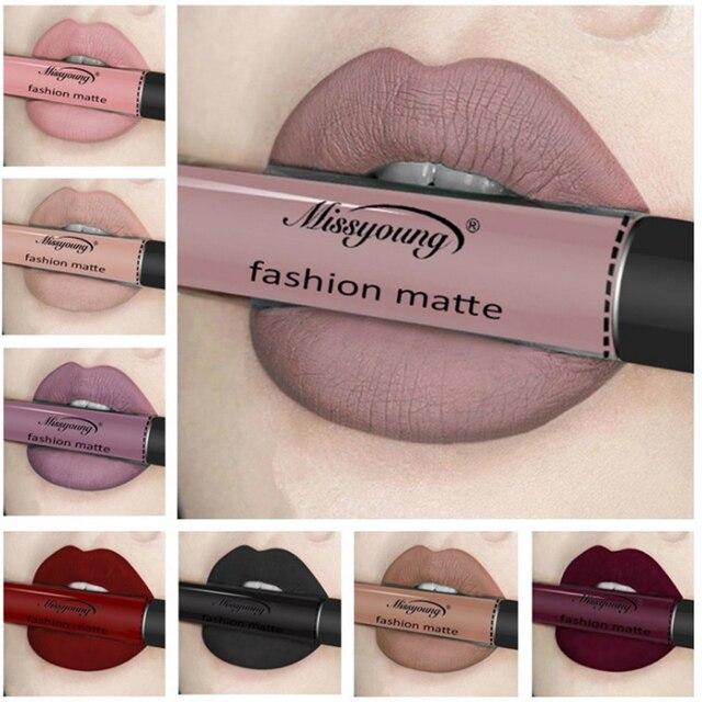 Nueva Marca maquillaje pintalabios mate pintalabios marrón Color Chocolate líquido lápiz labial brillo mate Batom