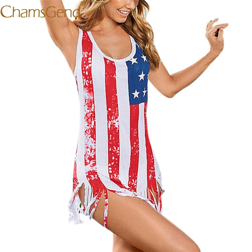 Free Shipping Women Sexy America Flag Print Tassels Tank Top Long Shirt For American Independence Day 80515 Drop Ship