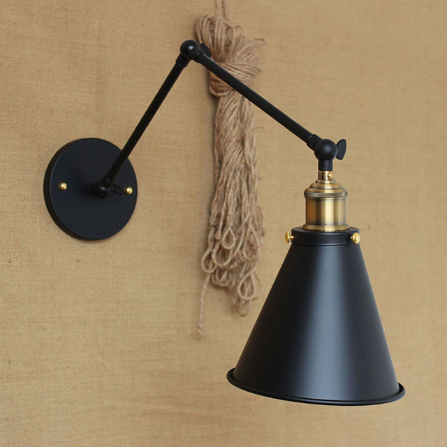 Classic black fashion industrial style adjustable long arm vintage indoor wall lamp E27 lights for home hallway bedroom bar cafe