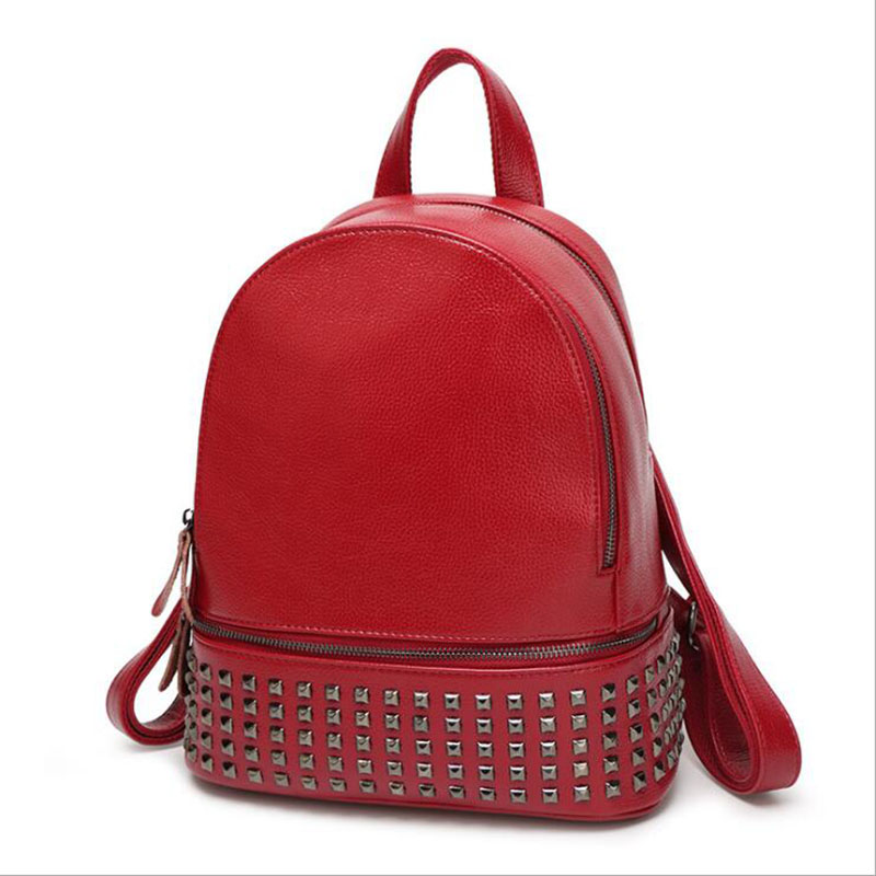 Women's Backpack 2018 Hot Fashion Europe and America Brand Ladies Rivet Backpack Pu Casual Crossbody Bags Brown Red Blue повседневные брюки tide brand in europe and america d9048