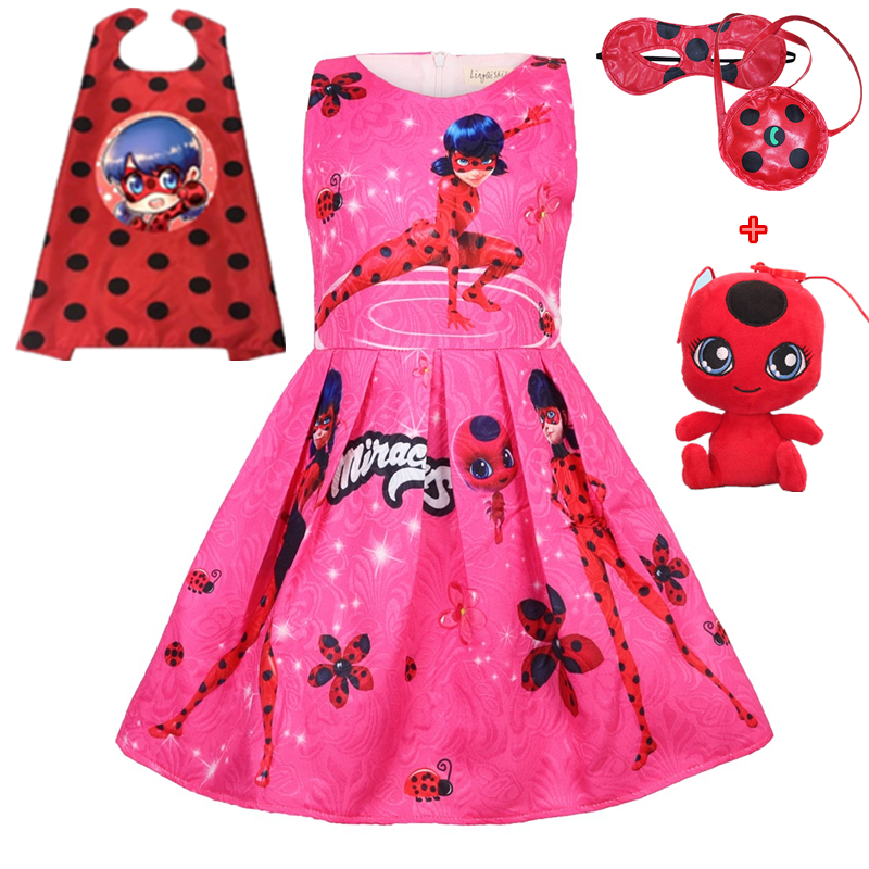Lady Bug Red birthday Party Dress Miraculous Ladybug Halloween Cosplay Dress Christmas gift Pretty Costume Kids Girls Clothes kids miraculous ladybug cat noir cosplay miccostumes costume with mask ladybug black romper bodysuit halloween tight jumpsuit