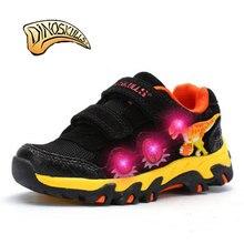 2017 Обувь для мальчиков светящиеся кроссовки Обувь для мальчиков мигает обувь детская обувь светодиодной подсветкой INFANTIL мальчиков 3D динозавров дышащая обувь весна