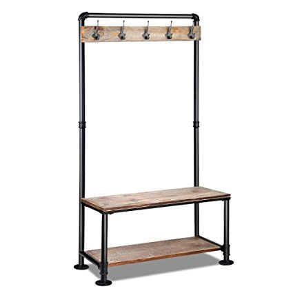 Industrial Pipe Clothing Rack Pine Wood Shelving Shoes Rack Cloth Hanger Pipe Shelf Garment Rack with Wheels