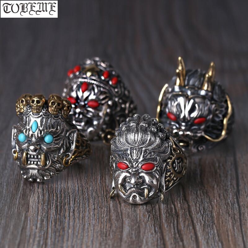 Handmade 925 Silver Yellow Jambhala Ring 925 Sterling Mahakala Man Ring Acalanatha Buddha Ring Dragon Jewelry