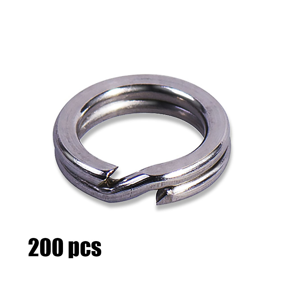 200pcs <font><b>3</b></font>, <font><b>3</b></font>.5, 4, 4.5, 5, 5.5, 6, 7,7.5 <font><b>mm</b></font> Stainless Steel Heavy Duty Split <font><b>Rings</b></font> Terminal Tackle Fishing Accesssories image