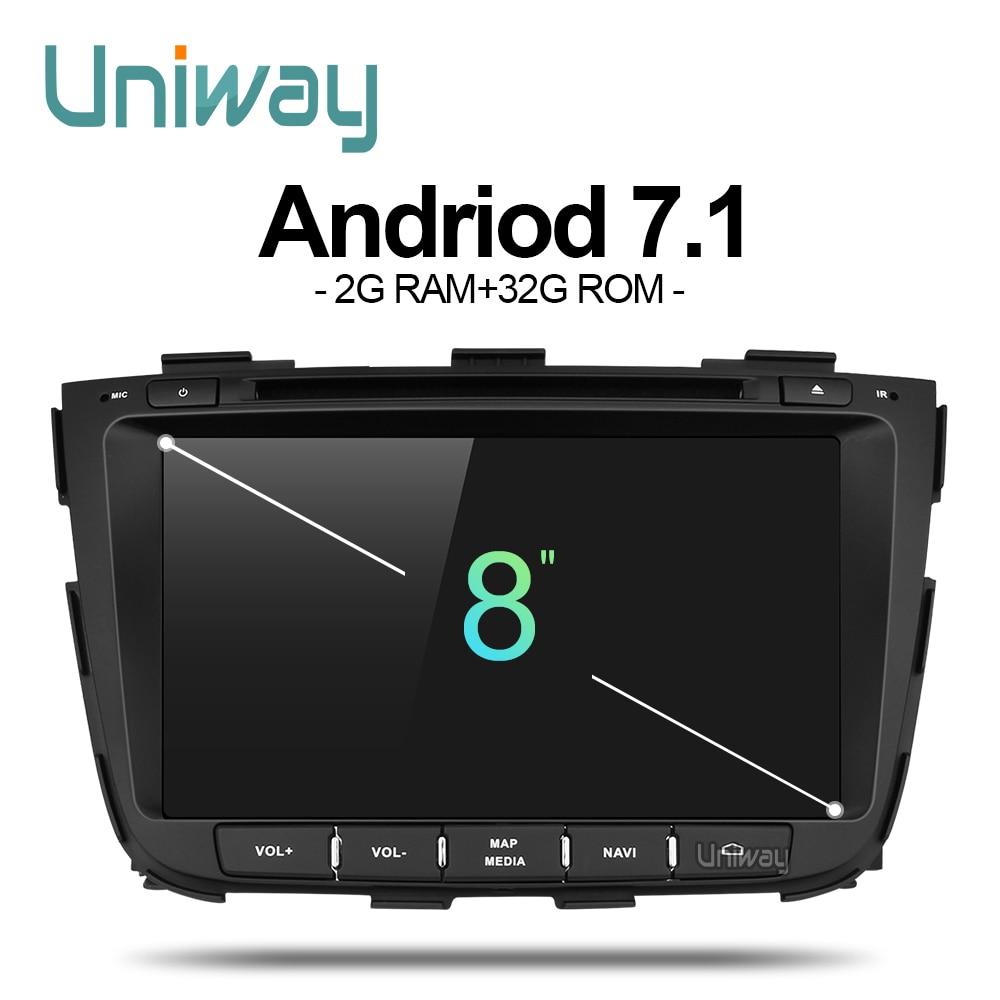 Uniway ZSLT8071 2G + 32G android 7.1 dvd do carro para kia sorento 2013 2014 rádio do carro de navegação gps com controle de volante