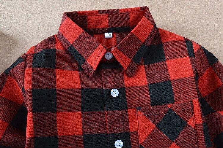VIDMID Boys shirts for Girls British Plaid child Shirts kids school Blouse red tops clothes Kids Children plaid 12 years 6010 01 3