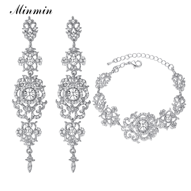 Minmin Kristal Bridal Jewelry Set untuk Wanita Warna Silver Gelang Anting Set Perhiasan Pernikahan untuk Pesta Prom EH182 + SL031