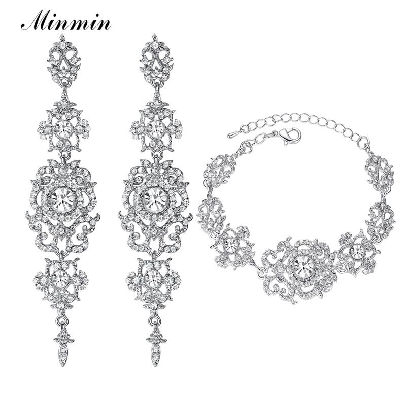 Minmin Crystal Bridal Sieraden Sets voor Dames Zilver Kleur Armbanden Oorbellen Bruiloft Sieraden Sets voor Party Prom EH182 + SL031