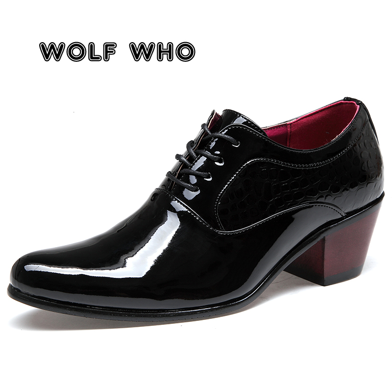 WOLF WHO Luxury Men Dress Wedding Shoes Glossy Leather 6cm High Heels Fashion Pointed Toe Heighten Oxford Shoes Party Prom X-196