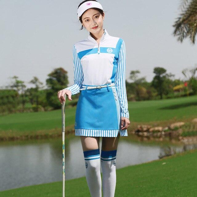PGM 2018 женская футболка с длинными рукавами и воротником-стойкой, быстросохнущая дышащая юбка с защитным нижним бельем для женщин