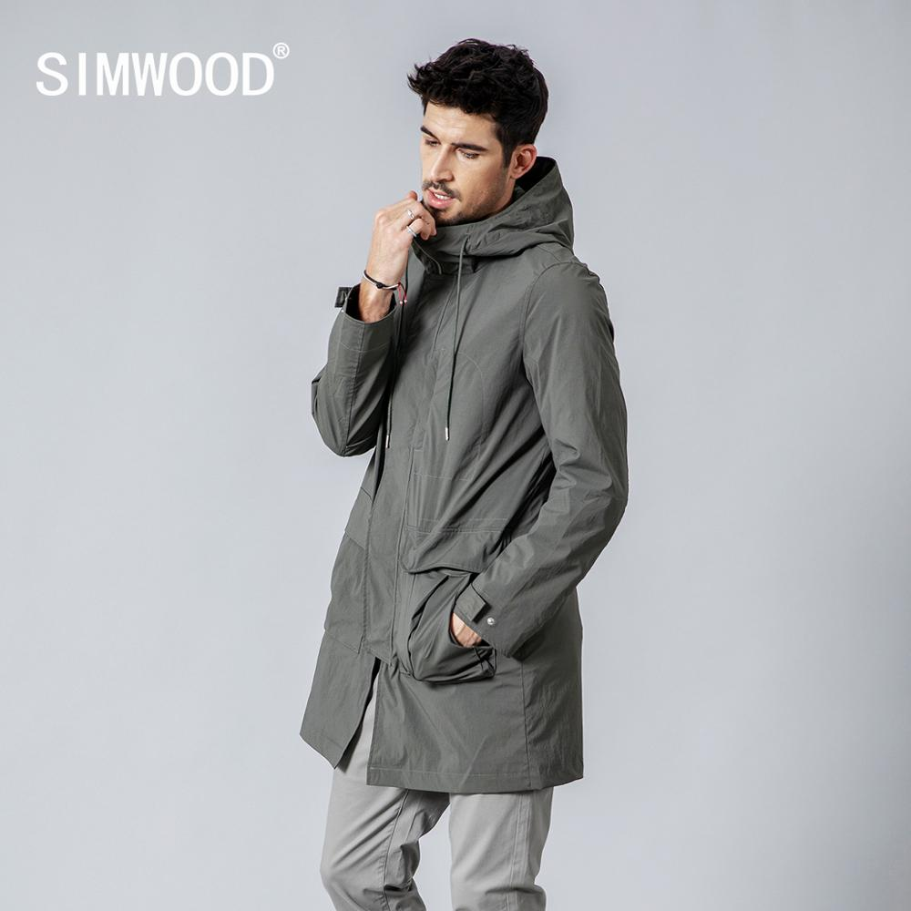 SIMWOOD 2019 autumn Winter New Long Jackets Men Slim Fit Fashion Pocket Hooded Trench Coats High Quality Brand Clothing JK017013-in Trench from Men's Clothing