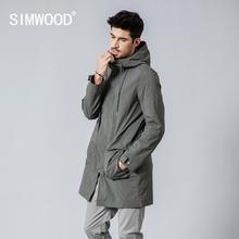 SIMWOOD 2020 spring Winter New Long Jackets Men Slim Fit Fashion Pocke