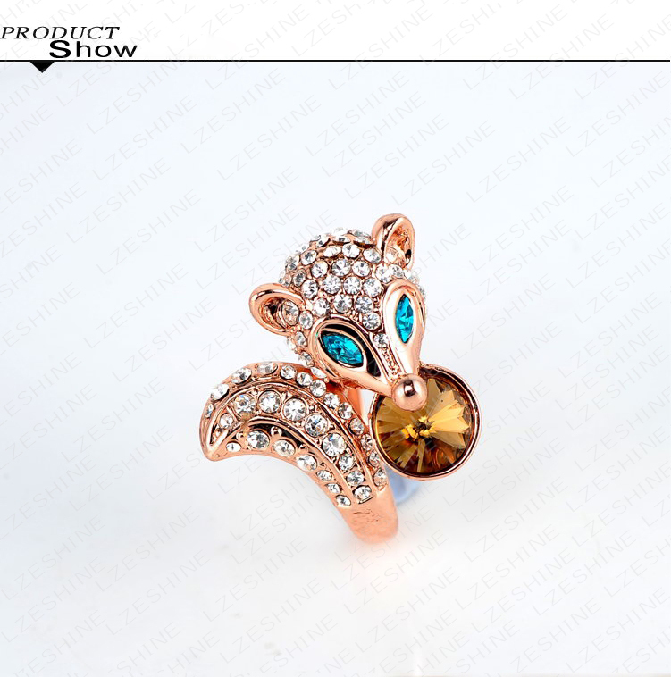 Beagloer Rose Gold Plating Punk-Pop Smart Fox Engagement Rings With Austrian Crystals Punk Jewelry Ri-HQ0204