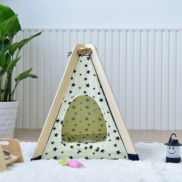 Little Dove High Quality Wooden Pet Tent Dog House Cat Nest Removable Cat House VIP Pooch Pet Nest with Mat