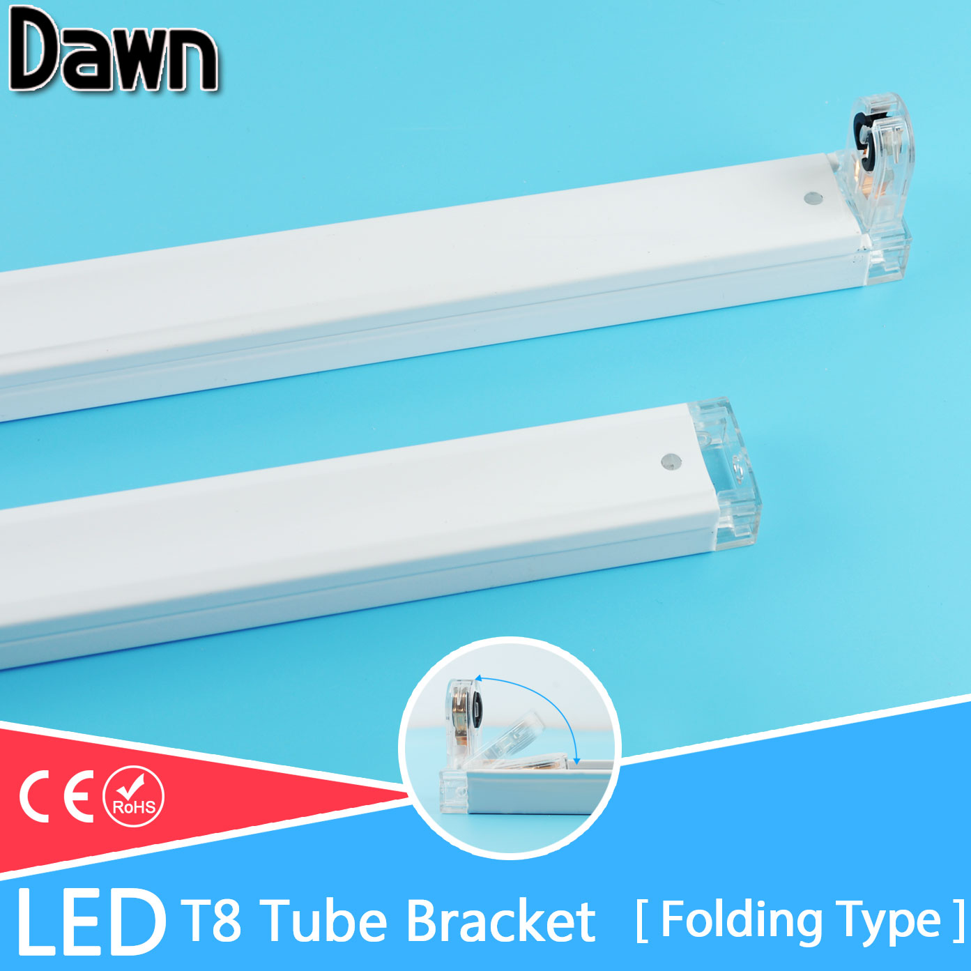 Free Shipping Folding Type T8 LED Tube Fixtures Bracket For 2Ft 60cm 600mm Fluorescent Lamp Tube Light/Support/Base/Holder Tube