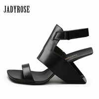 Jady Rose Fashion Black Women Strange High Heels Summer Sandals Genuine Leather Female Gladiator Ankle Strap