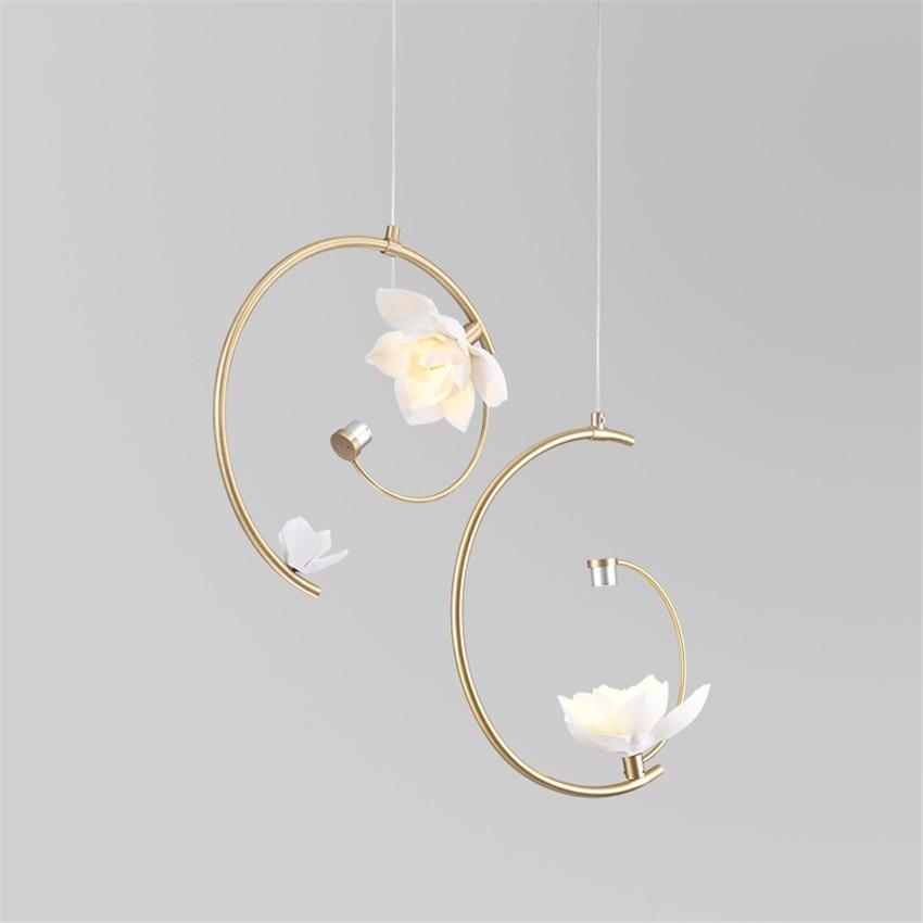 Modern Lights Brass LED Chandelier Ceramic Flower Pendant Lamps Bedroom Living Room Art Deco Hanglamps Lighting Fixtures