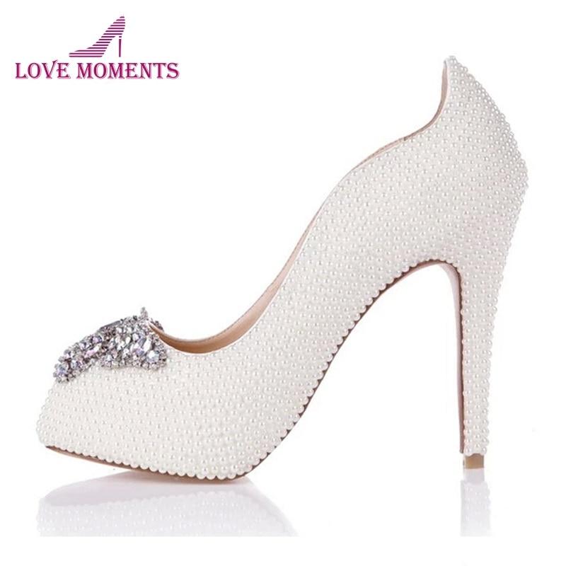 Ivory Pearl High Heels Peep Toe Wedding
