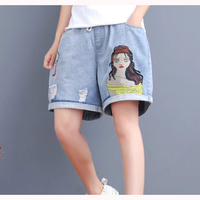 Womens Hot Jeans Boot Cut Denim Shorts Embroidery Beauty Holes Loose Fashion Casual American Style for Spring Summer Z8021