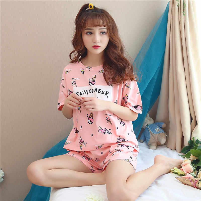 QWEEK כותנה הלבשת ורוד גלידת הדפסת פיג 'מה נשי חליפת פיג' מה חמודה נשים מקרית בית ללבוש חולצות + מכנסיים קצרים נשים בגדים