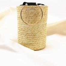 Bucket Japanese Straw Bag Shoulder Bag Dual-use Handbag Roun