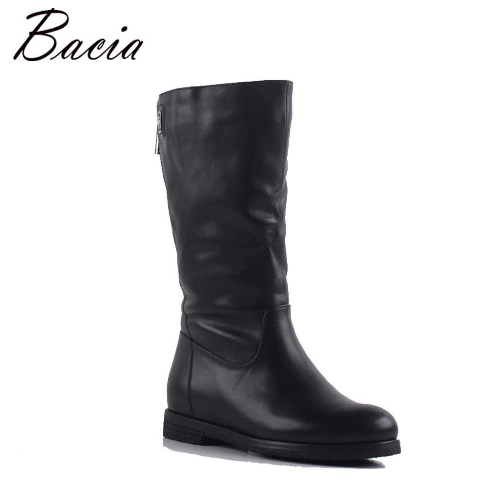 Bacia New Female Leather Boot Genuine Vintage Style Calf Booties Soft Cowhide Brand Women Shoes Zip Boots zapatos mujer SA080