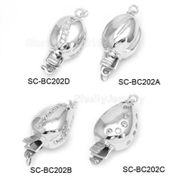 Four Designs White Rhodium Plated 925 Sterling Silver Zircon Pave Box Clasps Pearl Jewellery Accessories SC-BC202