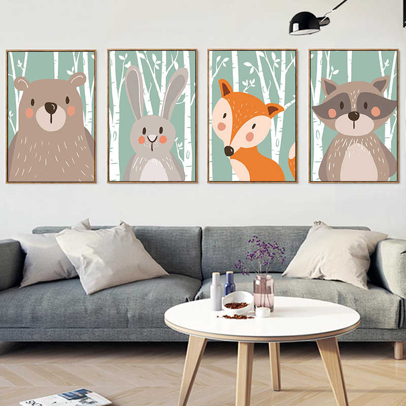 Elegant Poetry Nordic Kawaii Forest Animal Canvas Painting Art Print Picture Wall Children's Bedroom Living Room Home Decor
