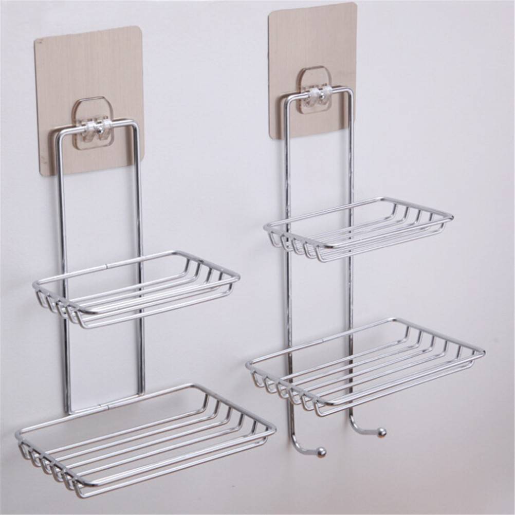 Stainless Steel Self Adhesive Bathroom Kitchen Wall Mount Sponge Draining  Hanger Soap Dish Storage HolderTowel Hooks