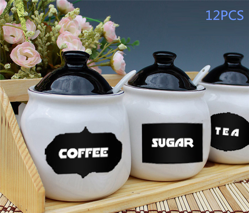 12Pcs/Set Blackboard Sticker Craft Kitchen Jar Organizer Labels Chalkboard Chalk Board Stickers Black Wall Stickers Home Decor