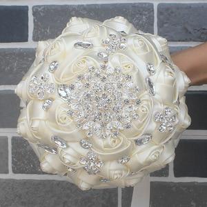 Image 4 - WifeLai A 1Piece Cream Ivory Artificial Flowers Bridal Brooch Bouquets Stunning Crystal Stitch Bridesmaid Wedding Bouquets W236